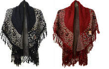 Black or Red Fringe Cheetah Leopard Poncho Shawl Wrap