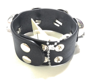 Skull Biker Halloween Jewelry Snap Bracelet Black Sugar Skull Fringe or Rhinestone Head