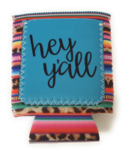 Hey Yall Pocket Cheetah Leopard Serape Aztec Stripes Koozie Can Drink Holder 12 Oz Turquoise Blue