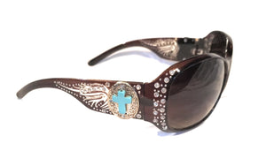 Faux Turquoise Blue Cross Wings Sunglasses Bling Rhinestone Concho Shades Black Silver Brown Gold