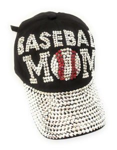 Bling Baseball Mom Hat Rhinestone Adjustable Sports Ball Cap Black