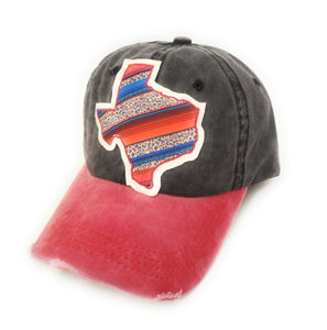 Texas Leopard Serape Hat Lone Star State Aztec Cheetah Cap Black Pink Red
