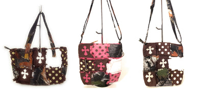 Cross Camo Ragbag Patchwork Purse Polka Dot Western Shoulder or Messenger Bag Brown Pink