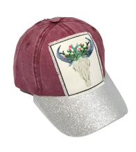 Adjustable Longhorn Steer Hat Floral Flower Cow Bull Skull Glitter Cap Navy Blue Maroon Red