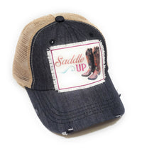 Southern Junkie Saddle Up Cowboy Boots Ponytail Hat Vented Mesh Bun Cap Black Denim