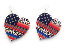 USA Patriotic Leopard Serape Heart Earrings Aztec Cheetah American Flag Jewelry