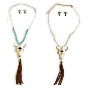 Cross Longhorn Necklace Earrings Fringe Tassel Steer Bull Skull Jewelry Set 30""