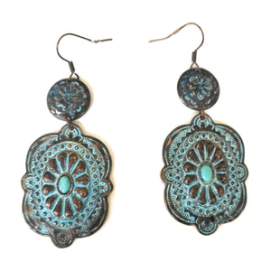 "Aztec Turquoise Blue Concho Hook Earrings Filigree Floral Patina Jewelry 3"" Drop"