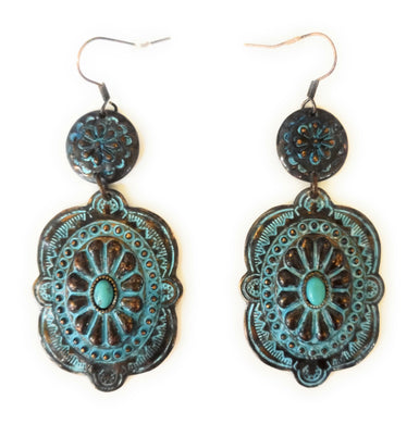 Aztec Turquoise Blue Concho Hook Earrings Filigree Floral Patina Jewelry 3