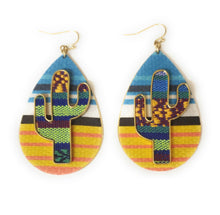 Cactus Serape Earrings Aztec Chevron Stripes Teardrop Hook Jewelry 2.75""