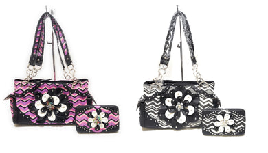 Chevron Aztec Bling Flower Shoulder Bag Purse Pocketbook Flat Wallet Set Purple Pink Black White