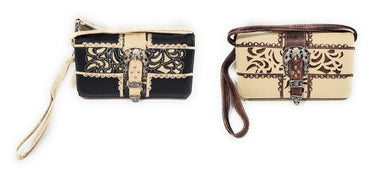 Flower Buckle Messenger Bag Wristlet Wallet Purse Crossbody Pocketbook Black Beige Brown