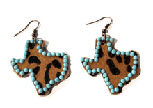 Lightweight Leopard Texas State Earrings Cheetah Turquoise Blue Beaded Jewelry