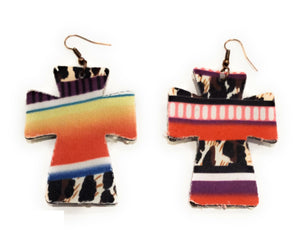 Lightweight Serape Leopard Cross Earrings Cheetah Aztec Bling Rhinestone Jewelry 3""
