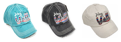 KB Hey Yall Serape Stripes Hat Aztec Vintage Distressed Western Baseball Cap
