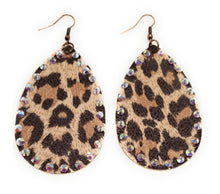 "Lightweight Leopard Rhinestone Earrings Cheetah Teardrop Hook Jewelry 3.5"" Brown Tan Pink Red"