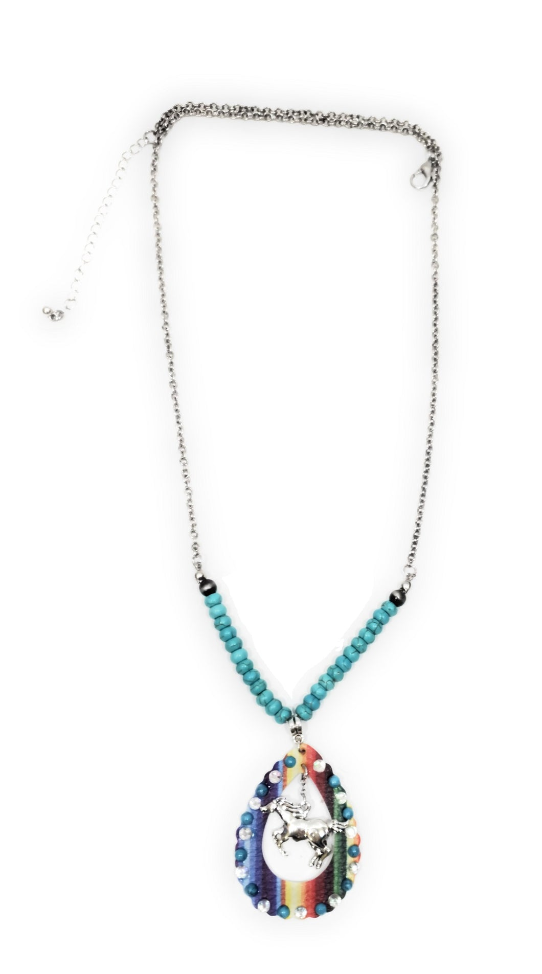 Serape Aztec Horse Necklace Rhinestone Beaded Western Jewelry Turquoise Blue 27