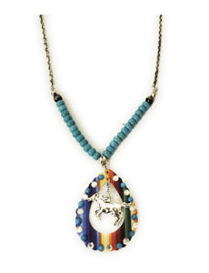 "Serape Aztec Horse Necklace Rhinestone Beaded Western Jewelry Turquoise Blue 27""-30"""