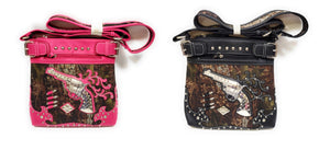 Camo Gun Bullets Messenger Bag Bling Rhinestone Western Crossbody Purse Pink Black