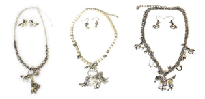 Horse Charm Necklace Earrings Set Western Cowgirl Jewelry Silver Tone