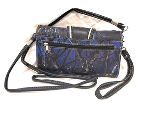 Camo Rhinestone Messenger Bag Purse Wristlet Wallet Combo Buckle Cross Pink Blue