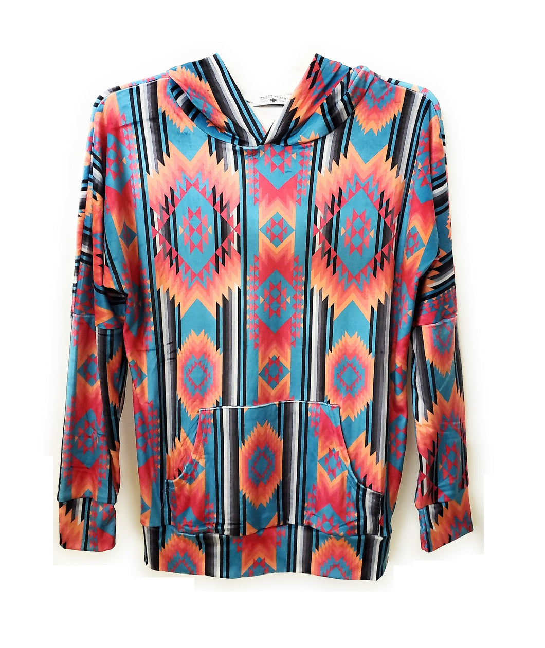 Crazy Train Aztec Lightweight Jacket Soft Serape Hoodie Coat Pull Over Turquoise Blue Orange Pink