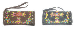 Montana West Cross Flower Wallet Womens Ladies Bling Floral Trifold Wristlet
