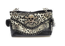 Skull Leopard Concealed Carry Gun Purse Cheetah Bling Rhinestone Shoulder Bag White Black or Pink