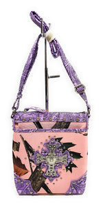 Camo Bling Cross Concealed Carry Messenger Bag Rhinestone Purse Purple Pink