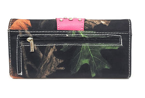 Black Camo Cross Buckle Wallet Blue Concho Bling Womens Ladies Trifold Brown or Pink