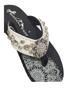 Montana West Womens Flip Flops Bling Glitter Rhinestone Concho Wedge Sandals