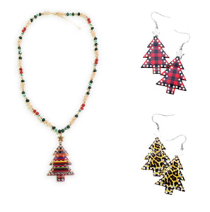 Rhinestone Christmas Tree Star Jewelry Womens Ladies Girls Holiday Bling Fashion Necklace or Earrings