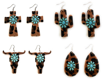 Lightweight Leopard Squash Blossom Earrings Cheetah Jewelry Turquoise Blue Brown