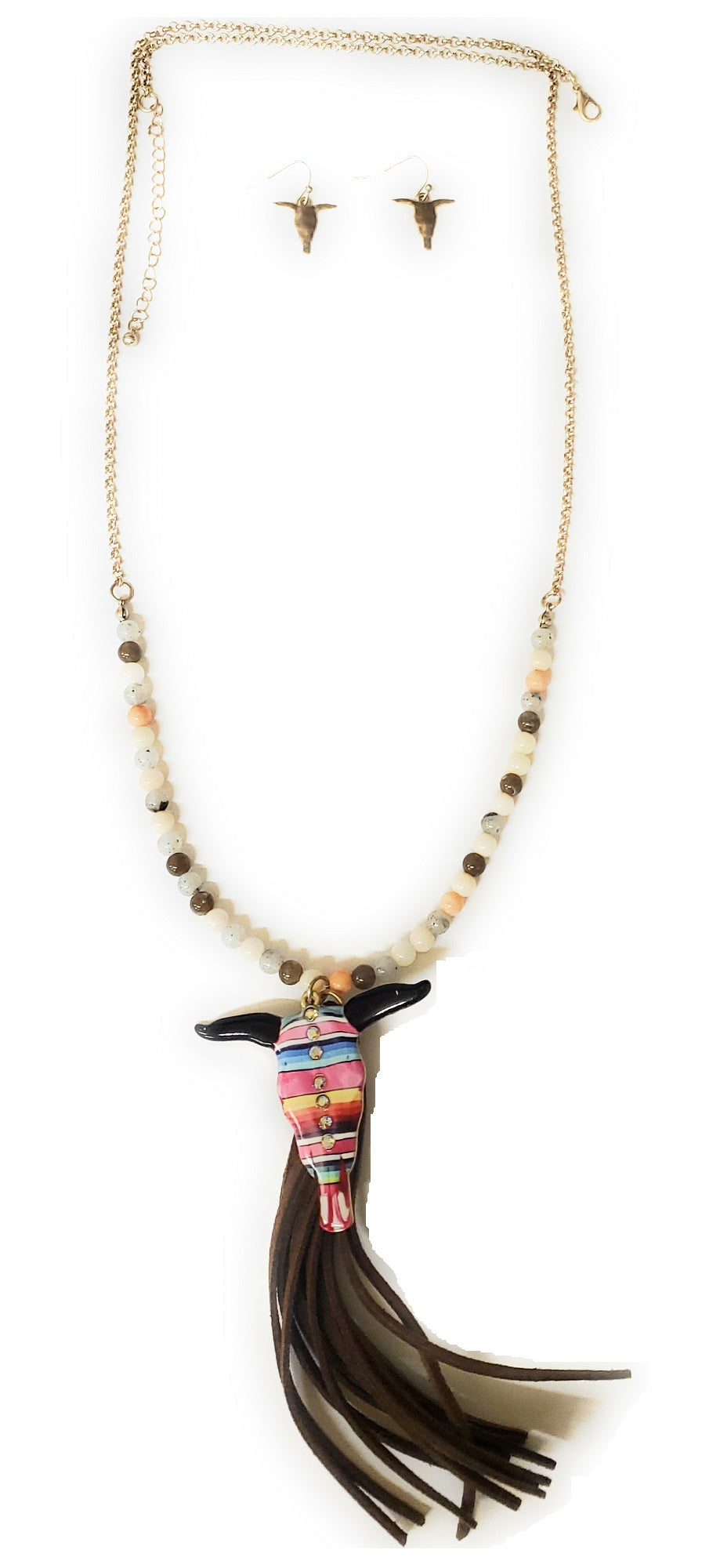 Tipi Serape Aztec Steer Longhorn Necklace Earrings Bling Rhinestone Tassel Jewelry