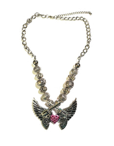 Gun Wings Heart Necklace Crossed Pistols Beaded Bling Rhinestone Jewelry Silver Pink