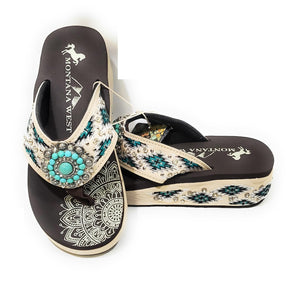 Montana West Bling Concho Aztec Flip Flops Rhinestone Sandals Shoes Turquoise Blue Beige