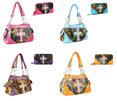 Camo Rhinestone Cross Purse Shoulder Bag Zipper Wristlet Wallet Pink Blue Purple Orange