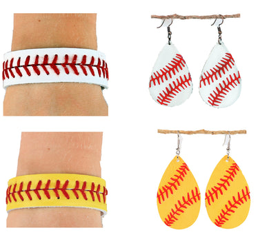 Leather Sports Ball Lightweight Softball Baseball Bracelet Earrings Womens Jewelry Yellow White