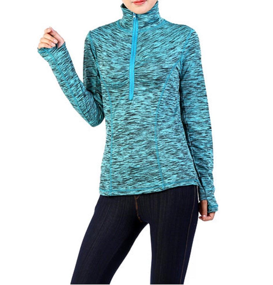 Stripe Zipper Thumb Hole Active Lightweight Turtleneck Jacket Shirt Top Turquoise Blue Black