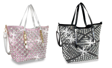 HX Rhinestone Geometric Messenger Crossbody Shoulder Bag Hobo Purse Black Pink