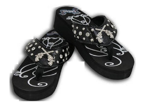 Showman Couture Crossed Gun Pistol Bling Rhinestone Flip Flops Sandals Shoes Black Pink 1.75""