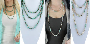 Western Aztec Long or Layered Crystal Beaded Womens Necklace Turquoise Blue White 60""