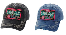 Adjustable Its Game Day Yall Pom Cheetah Leopard Sports Hat Cap Denim Navy Blue or Black