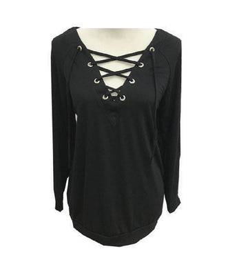Lace Up V Neck Long Sleeve Womens Ladies Blouse Casual Dressy Work Top Shirt Black
