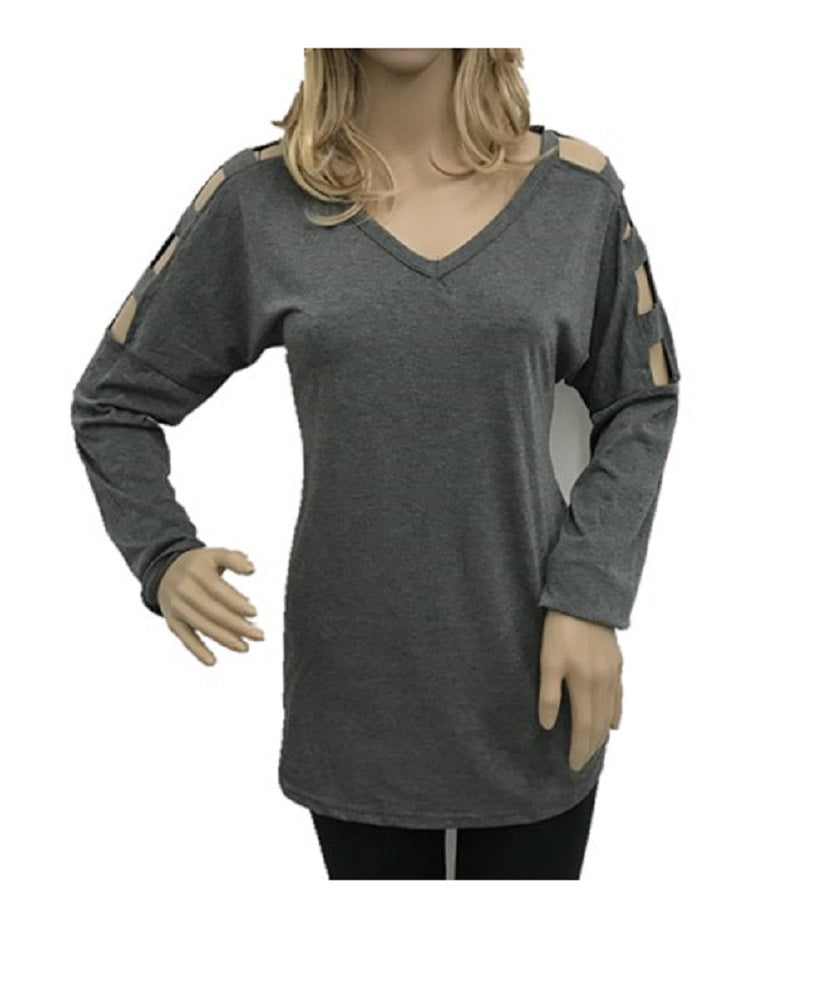 Long Sleeve Cut Out Arms V Neck Womens Casual Dressy Blouse Shirt Top Gray Grey