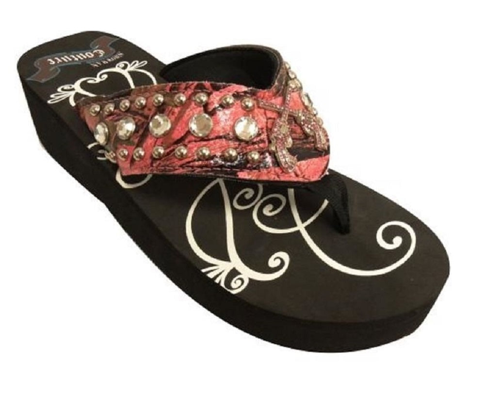 fab8a781f6bb ... Showman Couture Crossed Gun Pistol Bling Rhinestone Flip Flops Sandals  Shoes Black Pink 1.75