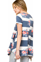 Stripes Flower Floral Print Tunic Short Sleeve Shirt Blouse Top Blue White S-3X