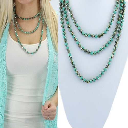 Western Aztec Long or Layered Crystal Beaded Womens Necklace Turquoise Blue White 60