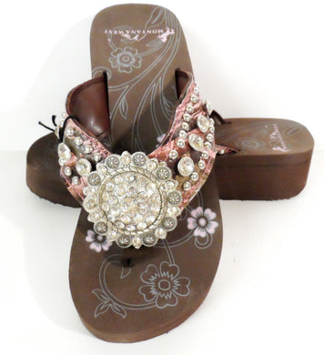 Montana West Bling Rhinestone Concho Western Flip Flops Sandals Shoes Pink Camo