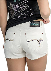 Muddy Girl Serenity Turquoise Blue Camo White Denim Jean Distressed Shorts